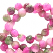 6 mm Naturstein Perlen rund Jade mit Watercolour look Mixed colours pink-green