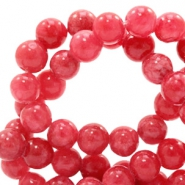 6 mm Naturstein Perlen rund Jade mit Watercolour look Rose red