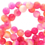 6 mm Naturstein Perlen rund Jade mit Watercolour look Pink-yellow