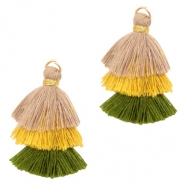 Perlen Quaste 3-layer 3.2cm Gold-beige yellow green