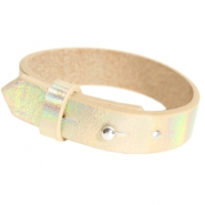 Cuoio Armbänder Leder 15 mm für 20 mm Cabochon Holographic champagne