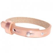 Cuoio Armbänder Leder 8 mm für 12 mm Cabochon Holographic rosegold