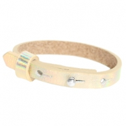 Cuoio Armbänder Leder 8 mm für 12 mm Cabochon Holographic champagne