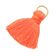 Quaste mit Ring klein Fluor orange