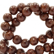 6 mm Glasperlen stone look Dark brown