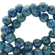8 mm Glasperlen stone look Admiral blue-green