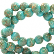 6 mm Glasperlen stone look Dark turquoise-rose brown