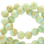 6 mm Glasperlen stone look Light turquoise blue-light brown