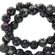 6 mm Glasperlen stone look Black-purple white