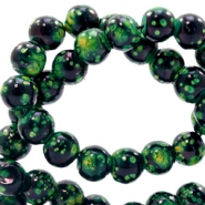 6 mm Glasperlen stone look Classic green-black