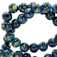 8 mm Glasperlen stone look Dark blue-green