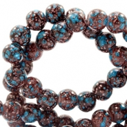 8 mm Glasperlen stone look Dark brown-turquoise