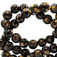 8 mm Glasperlen stone look Dark brown-gold