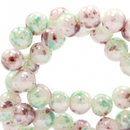8 mm Glasperlen meliert Greenish white-brown