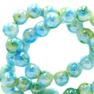 8 mm Glasperlen meliert Light blue-green