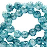 8 mm Glasperlen meliert Ocean blue