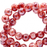 8 mm Glasperlen meliert Red