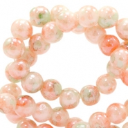 6 mm Glasperlen meliert Peach orange-green
