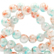 8 mm Glasperlen meliert Coral-white blue