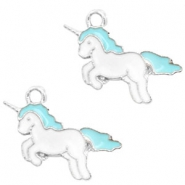 Basic quality Metall Anhänger Unicorn Silver-turquoise blue