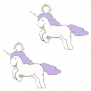 Basic quality Metall Anhänger Unicorn Silver-lavender purple