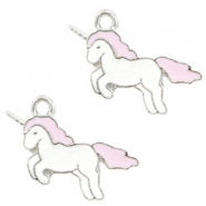 Basic quality Metall Anhänger Unicorn Silver-light pink
