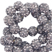 Strass Perlen 10mm Anthracite grey