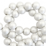 6 mm Acryl Perlen matt Silver-pearl coating