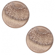 12 mm flach Cabochon Polaris Elements Stardust Taupe brown