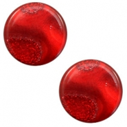12 mm flach Cabochon Polaris Elements Stardust Warm red