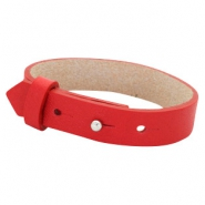 Cuoio Armbänder Leder 15 mm für 20 mm Cabochon Clear bright red