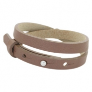 Cuoio Armband 8mm Leder doppel für 12mm Cabochon Medium brown