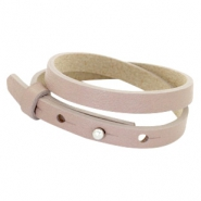Cuoio Armband 8mm Leder doppel für 12mm Cabochon Rose taupe