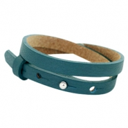 Cuoio Armband 8mm Leder doppel für 12mm Cabochon Night tide green