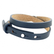 Cuoio Armband 8mm Leder doppel für 12mm Cabochon Dark midnight blue
