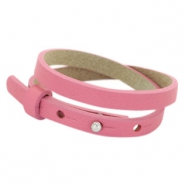 Cuoio Armband 8mm Leder doppel für 12mm Cabochon Peonia pink