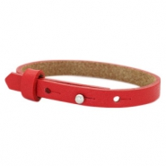 Cuoio Armband 8mm Leder für 12mm Cabochon Clear bright red