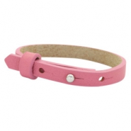 Cuoio Armband 8mm Leder für 12mm Cabochon Peonia pink