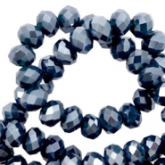 Top Glas Facett Perlen 4x3 mm disc Dark blue-pearl shine coating