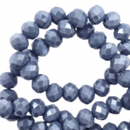 Top Glas Facett Perlen 6x4 mm disc Light denim blue-pearl shine coating