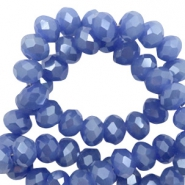 Top Glas Facett Perlen 4x3 mm disc Clematis blue-pearl shine coating