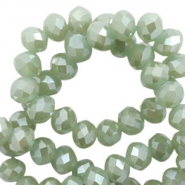 Top Glas Facett Perlen 8x6 mm disc Dark khaki green-pearl shine coating