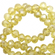Top Glas Facett Perlen 6x4 mm disc Light yellow-pearl shine coating