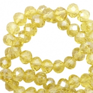 Top Glas Facett Perlen 4x3 mm disc Light yellow-pearl shine coating