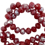 Top Glas Facett Perlen 6x4 mm disc Rumba red silver-pearl shine coating