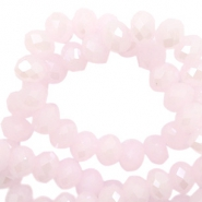 Top Glas Facett Perlen 6x4 mm disc Light pink-pearl shine coating