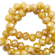 Top Glas Facett Perlen 6x4 mm disc Warm yellow gold-pearl shine coating
