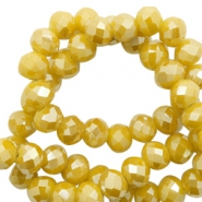 Top Glas Facett Perlen 4x3 mm disc Mustard yellow-pearl shine coating