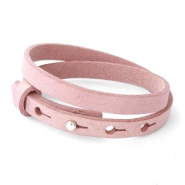Cuoio Armband 8mm Leder doppel für 12mm Cabochon Soft misty rose