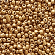 Glasperlen Rocailles 12/0 (2mm) Almond gold metallic